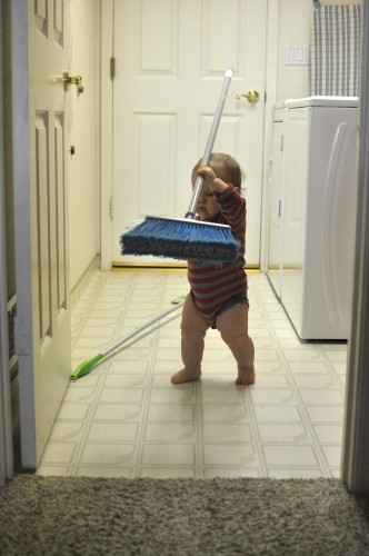 For a while he was managing the broom and the Swiffer. He abandoned the Swiffer in haste.